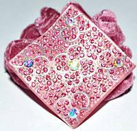 Резинка для волос, розовый велюр, розовый пластик, стразы розовые и хамелеон 11_15_57а3