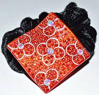 Резинка для волос, черный велюр, красный пластик, стразы красные и хамелеон 11_15_57а4