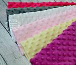 Набор отрезов плюша минки: сиреневый, кремовый, светло-розовый, белый, темно-серый, малиновый(18*30), фото 2