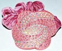 Резинка для волос, розовый велюр, розовый пластик, стразы розовые и хамелеон 11_15_92а2
