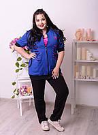 Красивый, молодежный спортивный костюм - тройка ЛИЛИЯ цвет черный с синим , больших размеров р-48-74