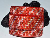 Резинка для волос, черный велюр, красный пластик, стразы красные и хамелеон 11_15_97а4