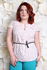 Блузка большого размера 311 мелкие сердечки, Летняя красивая блузка