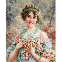"""Набор для вышивания Luca-S """"Девушка с розами"""""""