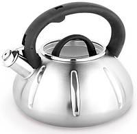 Чайник Kamille Graz-І 3л из нержавеющей стали со свистком и стеклянной крышкой
