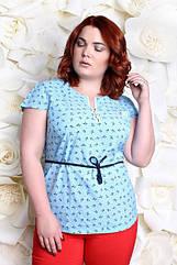 Блузка большого размера бантики, Летняя красивая блузка