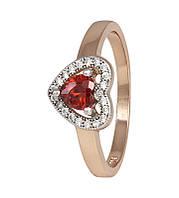 Серебряное кольцо позолоченное с фианитом КК3ФГ/474 - 17,8