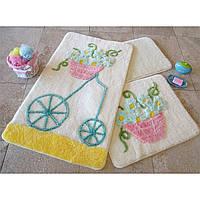 Набор ковриков для ванной комнаты 3 в 1 турция alessia ALACATI SARI