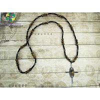 Эксклюзивное мужское ожерелье из тигрового глаза и гематита (серебро)