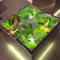 Стол со вставками из стабилизированный растений и мха