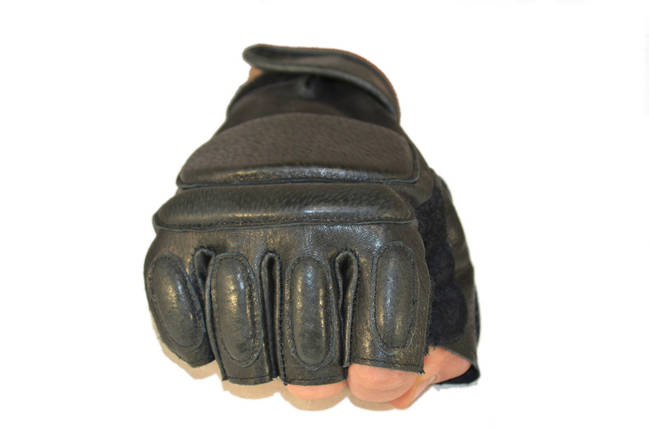 Беспалые тактические перчатки из натуральной кожи, фото 2