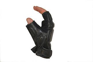 Беспалые тактические перчатки из натуральной кожи, фото 3