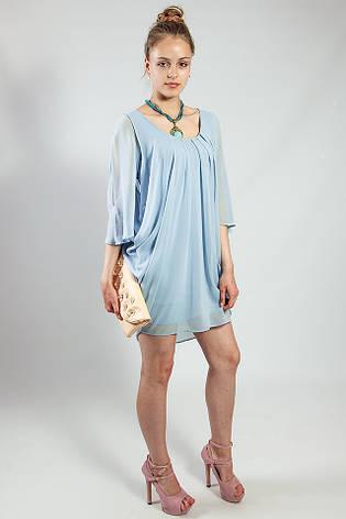 Женское платье -  туника летнее голубое шелковое  Rinascimento, фото 2