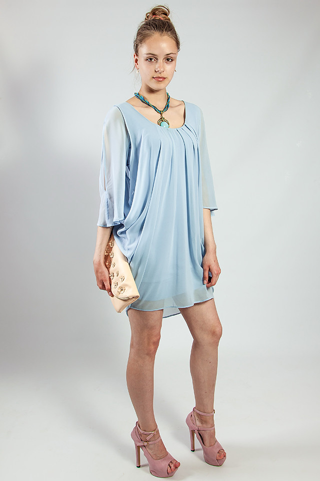 Женское платье -  туника летнее голубое шелковое  Rinascimento