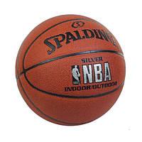 Мяч баскетбольный Composite Leather №7 SPALDING NBA SILVER Indoor/Outdoor (коричневый)