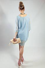 Женское платье -  туника летнее голубое шелковое  Rinascimento, фото 3
