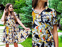 Платье. Ткань -  шёлк, принт D&G, на пуговичках. Размер С и М. (21358)