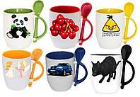 Чашка с Вашим дизайном, цветная внутри, ручка и ложка