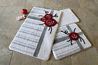 Набор ковриков для ванной комнаты 3 в 1 турция alessia FIYONK KIRMIZI