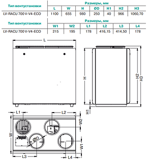 Приточно-вытяжная установка Lessar LV-RACU 700 VW (L/R)-V4-ЕСО, фото 2