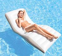 Надувной шезлонг для плаванья Intex белый, 193 х 102 см