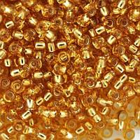 Бисер Preciosa Чехия №17050 ,огонек ,золото, размер 12/0