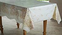 Клеенка для стола Ажур Лейс в бежево-белых тонах