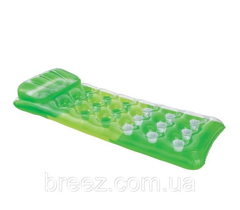 Надувной водный матрас Intex  зеленый, стаканы, 188 х 71 см