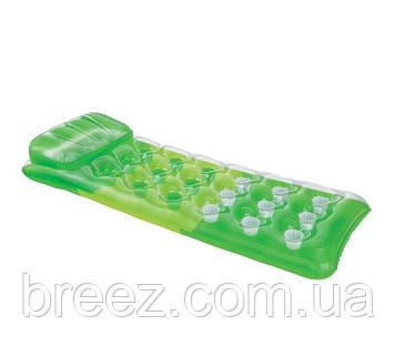 Надувной водный матрас Intex  зеленый, стаканы, 188 х 71 см, фото 2