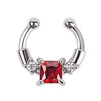 Серьга-обманка в нос Chic с красным камнем серебро