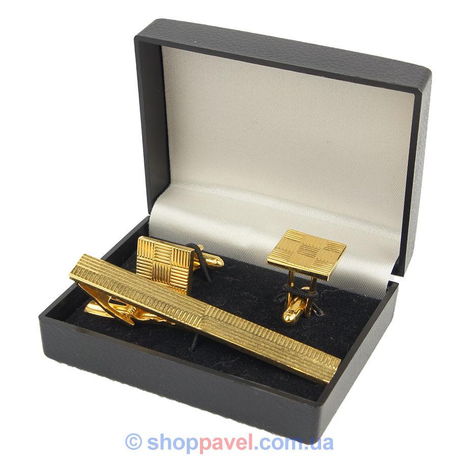 Набор с квадратными запонками и зажимом под золото 0200 С