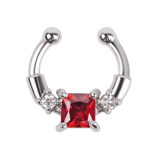 Серьга-обманка в нос Chic с красным камнем серебристая
