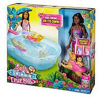 Интерактивный набор - кукла Барби брюнетка и бассейн для щенков Barbie, фото 1