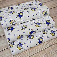 Пелёнки фленелевые для мальчиков с мишками в синих кофточках на белом фоне