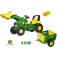 Трактор детский на педалях с прицепом Junior John Deere Rolly Toys 811496