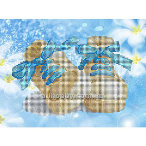 Схема для вышивания бисером Голубые ботиночки БИС4-49(1) (А4)
