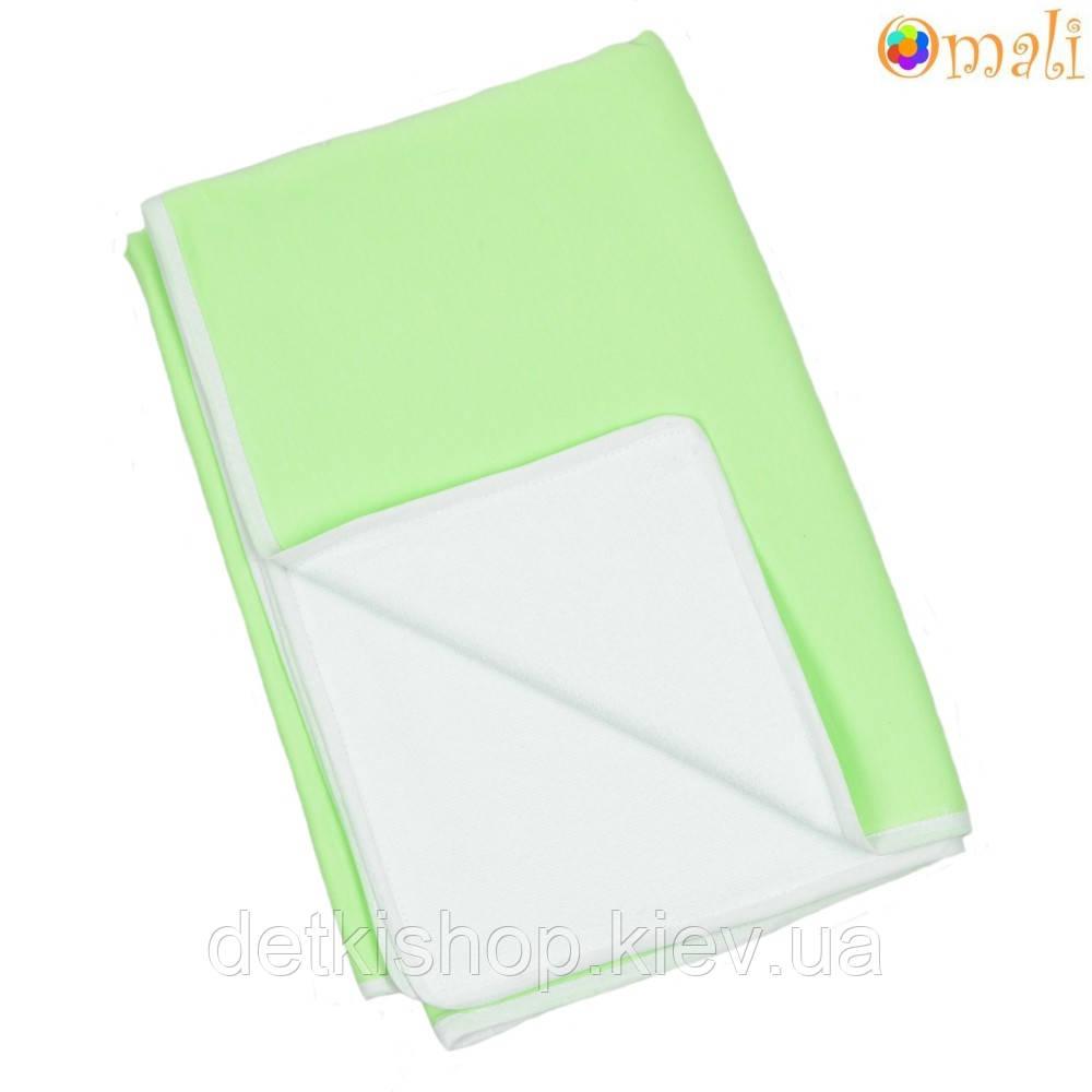 Непромокаемая двусторонняя пеленка 60x80 тм «Omali» (трикотаж зелёный)