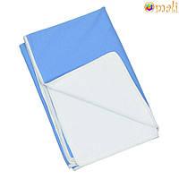 Непромокаемая двусторонняя пеленка 60x80 тм «Omali» (трикотаж синий)
