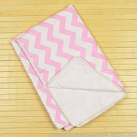 Непромокаемая двусторонняя пеленка 60x80 тм «Omali» (бязь розовый зигзаг)