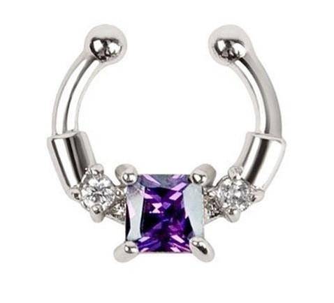 Серьга-обманка в нос Chic с фиолетовым камнем серебро