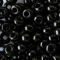 Бисер 23980 №8, черный, непрозрачный