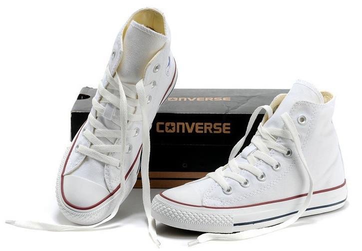 Кеды в стиле  Converse ALL STAR (конверсы) Белые высокие в коробке