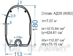 Алюминиевая мачта 180x113 АД35Т5 без покрытия.