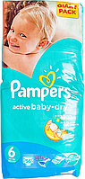 Підгузки Pampers Active Baby-Dry Розмір 6 (Extra large) 15+ кг, 56 шт