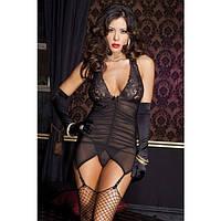 Комплект сексуального белья Black Dream прозрачный пеньюар с подтяжками для чулок