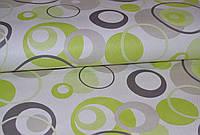 Обои бумажные,  разноцветные круги, зеленый, салатовый, черный, белый, Аврора 109-03, 0,53*10м