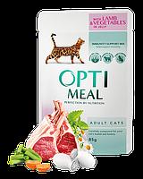 Optimeal паучи с телятиной в клюквенном соусе для кошек 85г*12шт