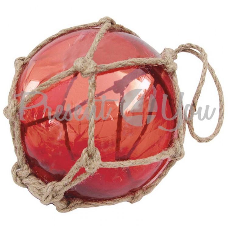 Морской сувенир стеклянный шар в сетке, красный, d-17,5 см., арт. 5838 Sea Club