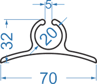 Алюминиевый мачтовый профиль - ликпаз 70х32  АД31Т5