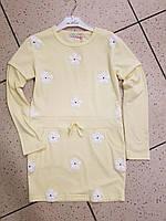 Детское платье, туника на девочку в цветочки желтая 8, 10 лет